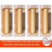Arranhador Tubular Sisal Instalação na Parede - Kit 04 pçs