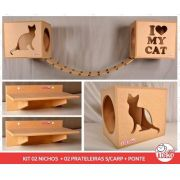 Kit 02 Nichos Gatos + Ponte + 02 Prateleiras s/Carpete - Mdf Cru