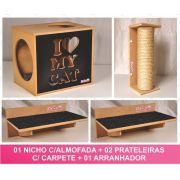 Kit 01 Nicho Gatos Almofada + 02 Prateleiras c/Carpete + 01 Arranhador Tubular - Frente Preta
