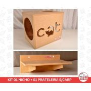 Kit 01 Nicho NekoCat + 01 Prateleira s/Carp -  Mdf Cru
