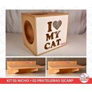 Kit 01 Nicho NekoCat + 02 Prateleiras s/Carp -  Frente Branca