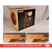 Kit 01 Nicho NekoCat + 02 Prateleiras s/Carp -  Frente Preta