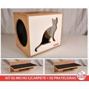 Kit 01 Nicho NekoCat c/Carp + 02 Prateleiras c/Carp -  Frente Branca