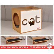 Kit 01 Nicho NekoCat Com Almofada + 02 Prateleiras c/Carp -  Frente Branca