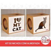 Kit 02 Nichos Gatos + 02 Almofadas - Frente Branca