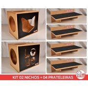 Kit 02 Nichos Gatos + 04 Prateleiras c/Carpete - Frente Preta