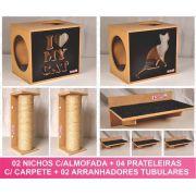 Kit 02 Nichos Gatos Almofada + 04 Prateleiras c/Carpete + 02 Arranhadores Tubular - Frente Preta