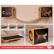 Kit 02 Nichos Gatos Almofada + Ponte + 04 Prateleiras c/Carpete - Frente Preta