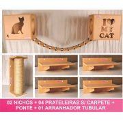 Kit 02 Nichos Gatos + Ponte + 04 Prateleiras + 01 Arranhador Tubular