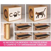 Kit 02 Nichos Gatos Almofada + 04 Prateleiras c/Carpete + 01 Arranhador Tubular - Frente Branca