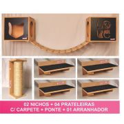 Kit 02 Nichos Gatos + Ponte + 04 Prateleiras c/Carpete + 01 Arranhador Tubular - Frente Preta
