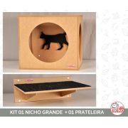 Kit Nicho Grande Gatos + 01 Prateleira c/Carp - Mdf Cru