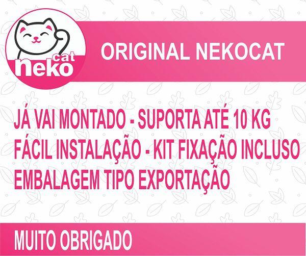 Kit 02 Nichos Gatos Almofada + Ponte + 02 Prateleiras c/Carpete + 02 Arranhadores Tubular - Frente Branca