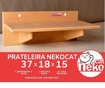Kit 02 Nichos Gatos + Ponte + 04 Prateleiras s/Carpete - Mdf Cru