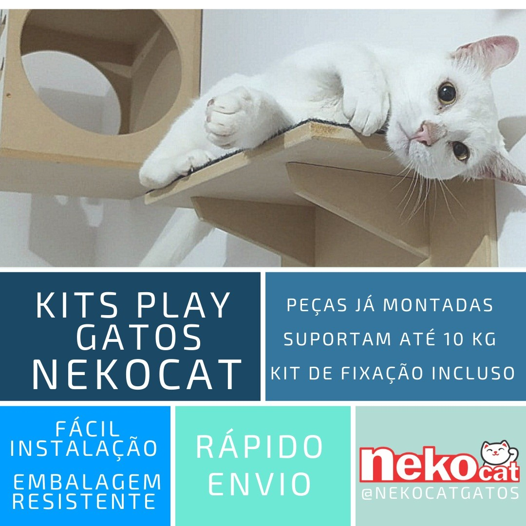 Kit Play Gatos Prateleiras Step Face Cat Ponte Cj 6 Pcs