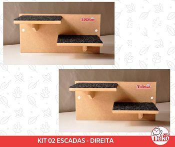 Escadas P/ Gatos - 2 Modulos 4 Degraus - Mdf Cru C/carpete
