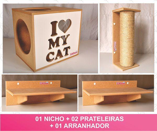 Kit 01 Nicho Gatos + 02 Prateleiras + 01 Arranhador Tubular - Frente Branca