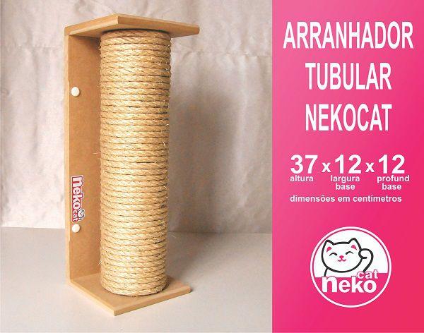 Kit 01 Nicho Gatos + 02 Prateleiras c/Carpete + 01 Arranhador Tubular - Frente Preta