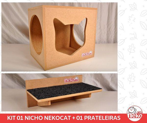 Kit 01 Nicho NekoCat + 01 Prateleira c/Carp -  Mdf Cru