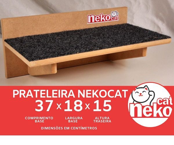 Kit 01 Nicho NekoCat c/Carp + 02 Prateleiras c/Carp -  Frente Preta