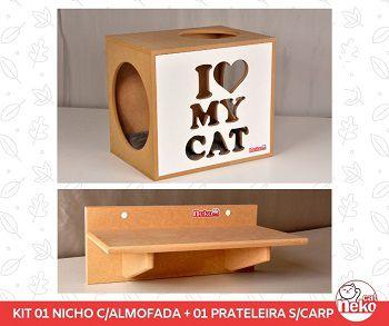 Kit 01 Nicho NekoCat Com Almofada + 01 Prateleira s/Carp -  Frente Branca