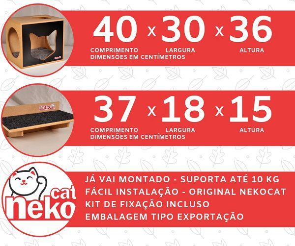 Kit 01 Nicho NekoCat Com Almofada + 02 Prateleiras c/Carp -  Frente Preta
