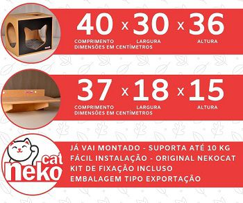 Kit 01 Nicho NekoCat Com Almofada + 02 Prateleiras s/Carp -  Frente Preta