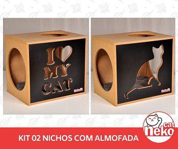 Kit 02 Nichos Gatos + 02 Almofadas Suede - Frente Preta