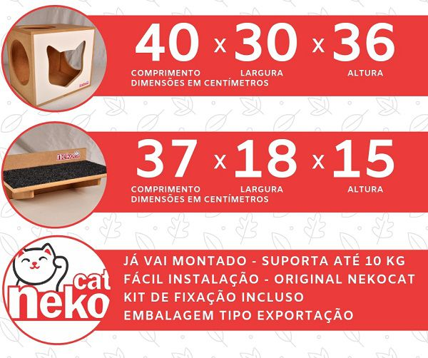 Kit 02 Nichos Gatos + 02 Prateleiras c/Carpete - Frente Branca