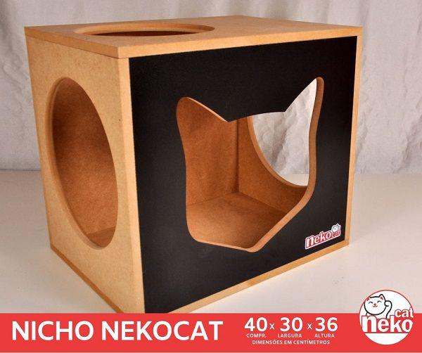 Kit 02 Nichos Gatos + 02 Prateleiras s/Carpete - Frente Preta