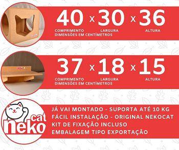 Kit 02 Nichos Gatos + 02 Prateleiras s/Carpete - Mdf Cru