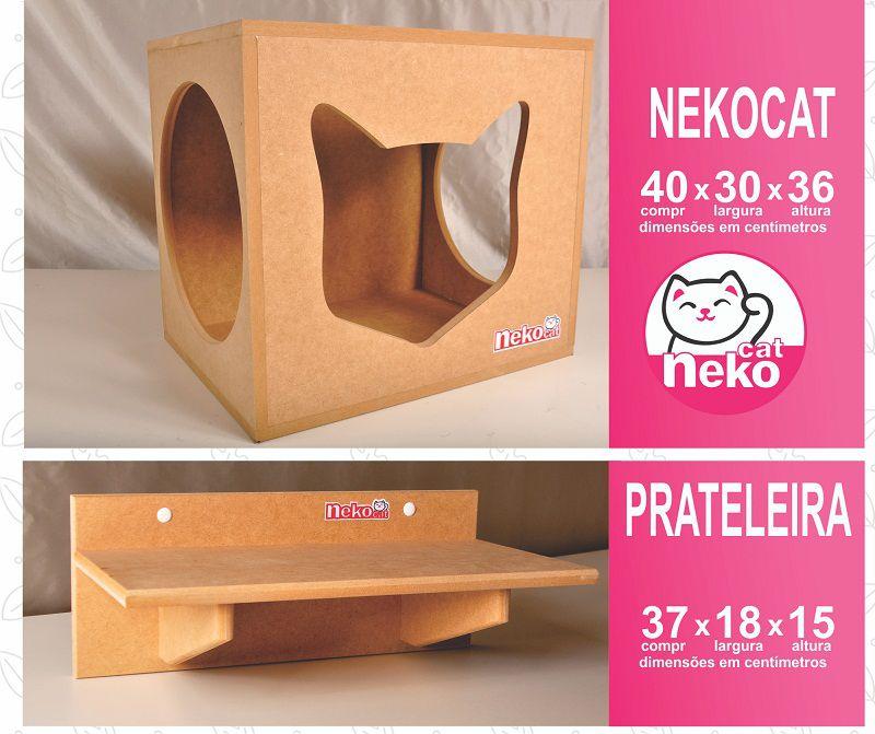 Kit 02 Nichos Gatos +  04 Prateleiras + 02 Arranhadores Tubular