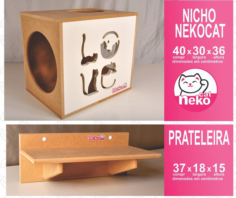 Kit 02 Nichos Gatos + 04 Prateleiras + 02 Arranhadores Tubular - Frente Branca