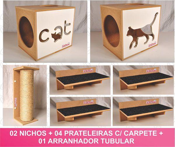 Kit 02 Nichos Gatos + 04 Prateleiras c/Carpete + 01 Arranhador Tubular - Frente Branca