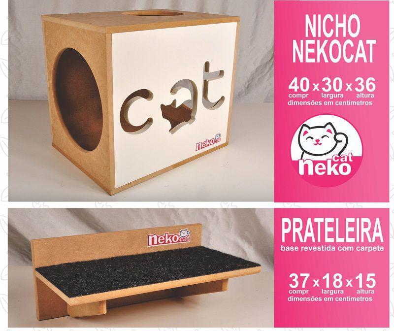 Kit 02 Nichos Gatos + 04 Prateleiras c/Carpete + 02 Arranhadores Tubular - Frente Branca