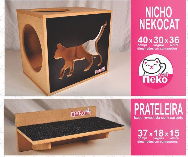 Kit 02 Nichos Gatos + 04 Prateleiras c/Carpete + 02 Arranhadores Tubular - Frente Preta