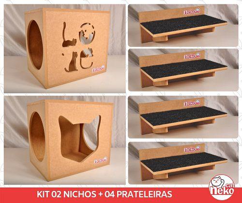 Kit 02 Nichos Gatos + 04 Prateleiras c/Carpete - Mdf Cru