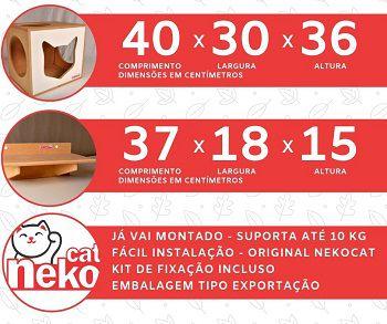 Kit 02 Nichos Gatos + 04 Prateleiras s/Carpete - Frente Branca