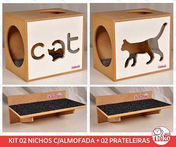 Kit 02 Nichos Gatos Almofada + 02 Prateleiras c/Carpete - Frente Branca