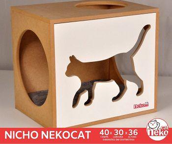 Kit 02 Nichos Gatos Almofada + 02 Prateleiras s/Carpete - Frente Branca