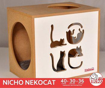 Kit 02 Nichos Gatos Almofada + 04 Prateleiras c/Carpete - Frente Branca