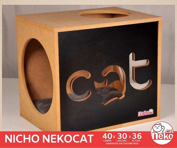 Kit 02 Nichos Gatos Almofada + 04 Prateleiras c/Carpete - Frente Preta