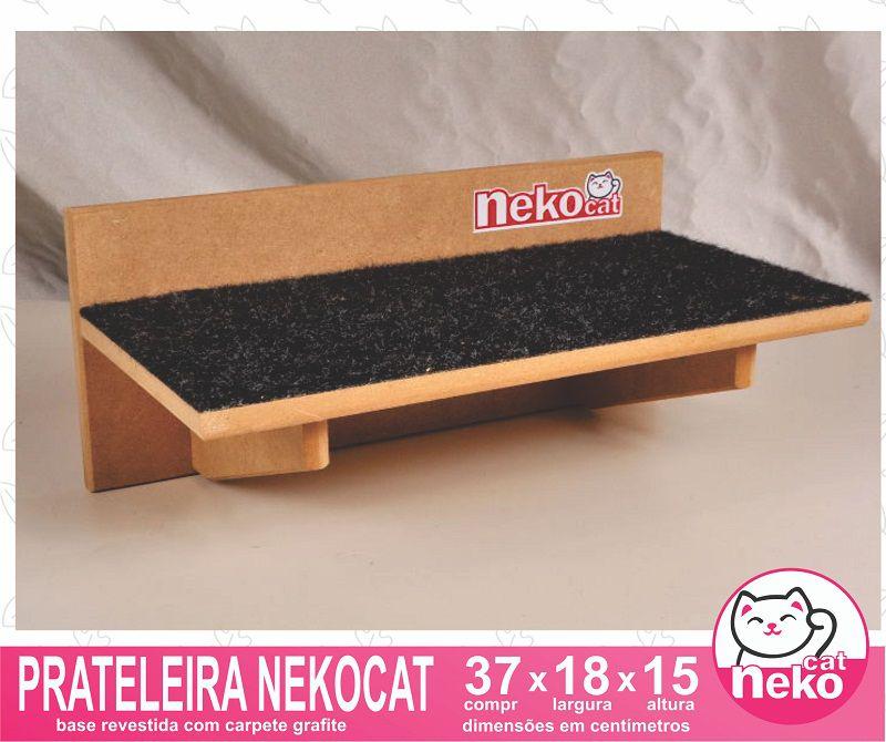 Kit 02 Nichos Gatos Almofada + Ponte + 02 Prateleiras c/Carpete + 02 Arranhadores Tubular - Frente Preta