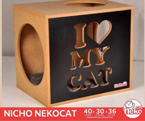 Kit 02 Nichos Gatos Almofada + Ponte + 02 Prateleiras c/Carpete - Frente Preta