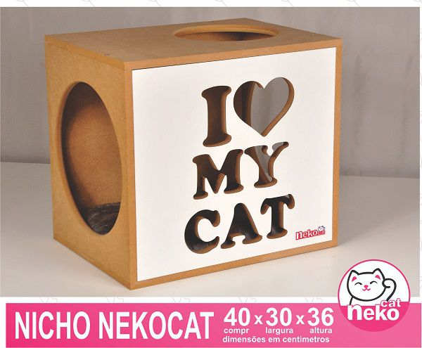 Kit 02 Nichos Gatos Almofada + Ponte + 04 Prateleiras c/Carpete + 01 Arranhador Tubular - Frente Branca
