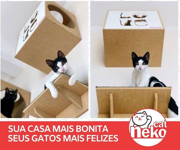 Kit 02 Nichos Gatos Almofada + Ponte + 04 Prateleiras c/Carpete - Frente Branca