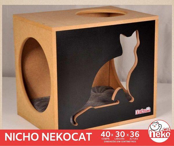 Kit 02 Nichos Gatos Almofada + Ponte + 04 Prateleiras s/Carpete - Frente Preta