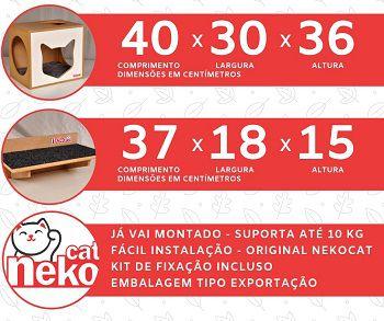 Kit 02 Nichos Gatos Almofada + Ponte - Frente Branca