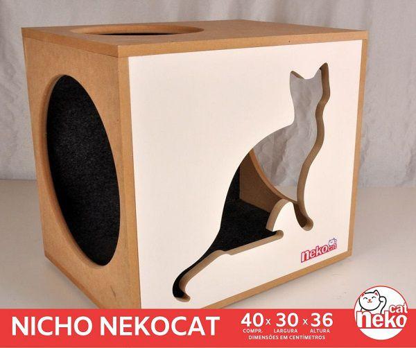 Kit 02 Nichos Gatos c/Carpete + 04 Prateleiras c/Carpete - Frente Branca