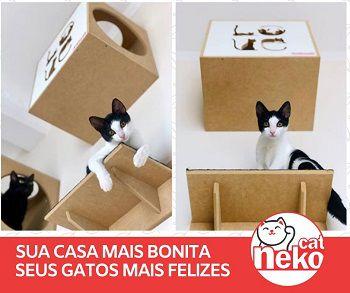 Kit 02 Nichos Gatos c/Carpete + Ponte + 04 Prateleiras c/Carpete - Frente Branca